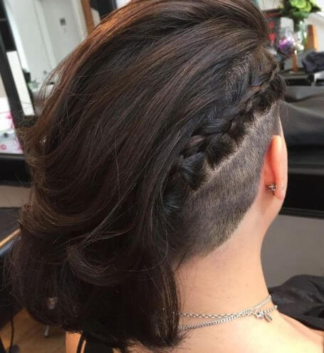 Long Hair With Undercut And Diagonal Braid