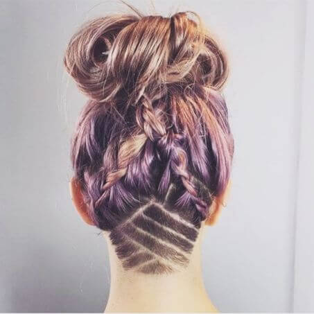 Messy Bun With Braided Back and Undercut