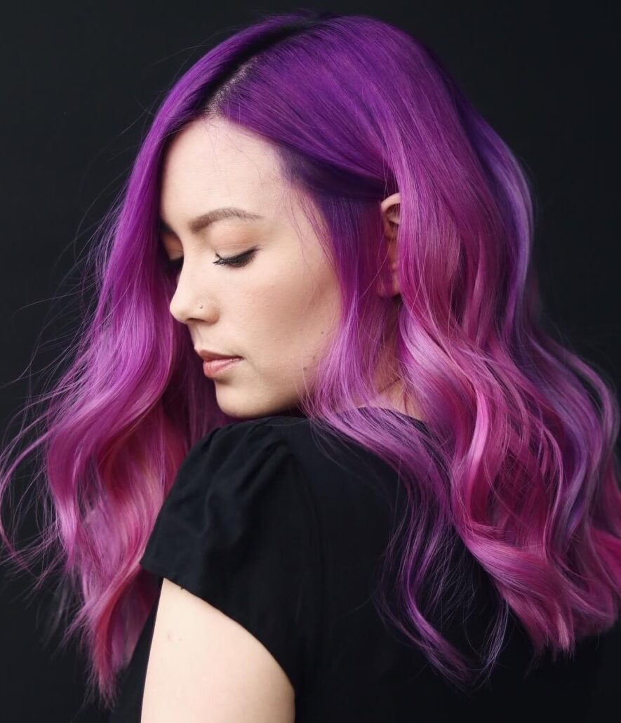 Neon Purple-Pink Hairstyle With Waves