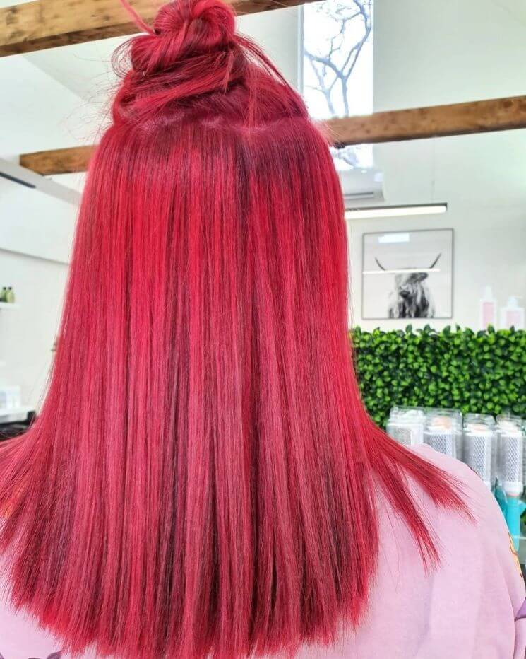 Ombre Red With Top Knot