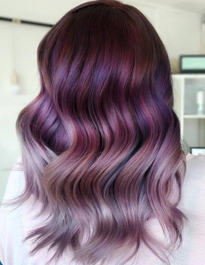 Purple Balayage Hairstyle With Wavy Back