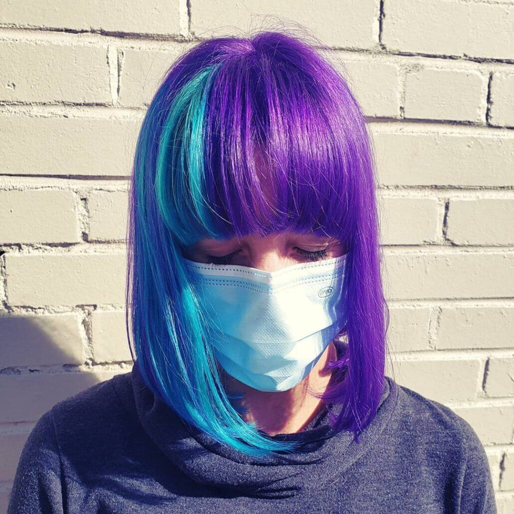 Purple-Blue Bob With Bangs