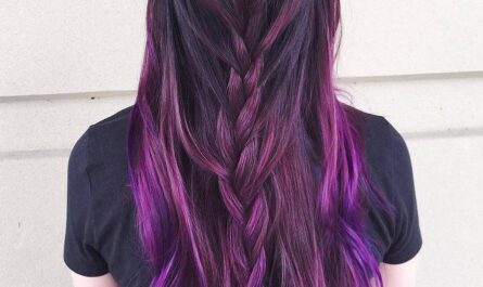 Purple Highlights With Braid