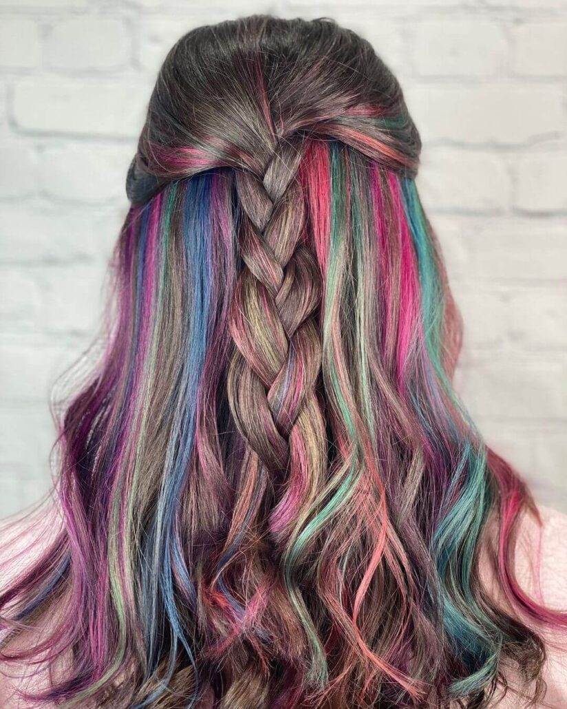Rainbow Hairstyle With Braid