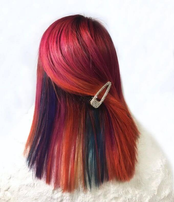 Rainbow Hairstyle With Side Combed Back