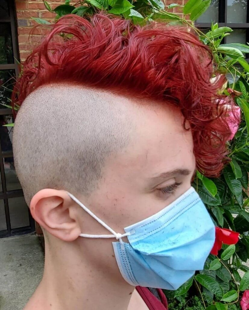 Red Faux Hawk With Curly Fringe