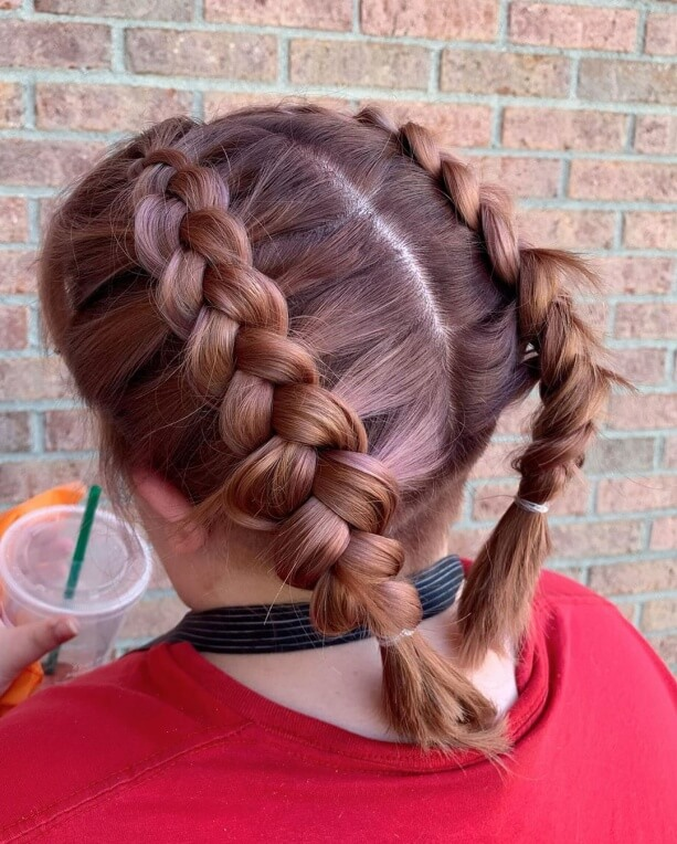 Rose Gold Short Hair With Braids