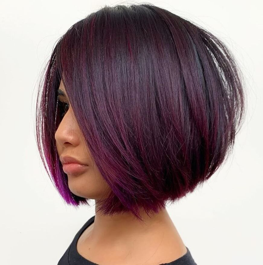 Short Bob With Purple Hair