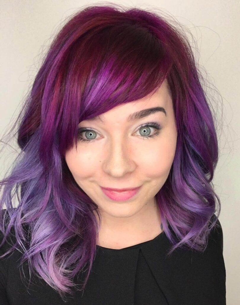 Short Wavy Hair With Purple Tinge