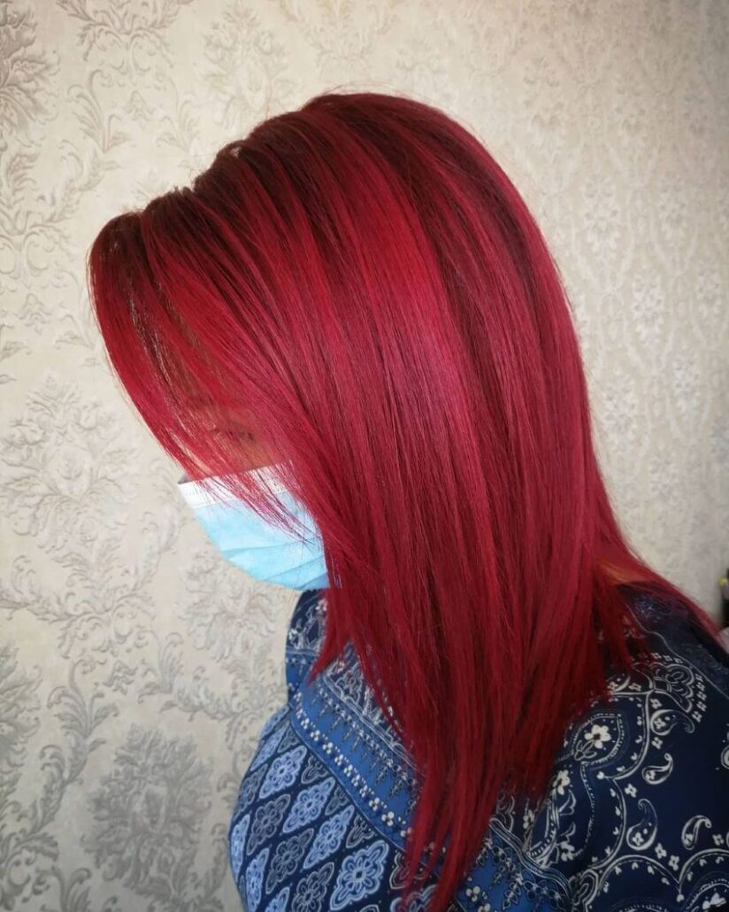 Side Swept Red Hair With Layers