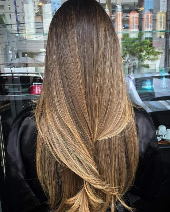 Straight Light Brown Hair With Highlights