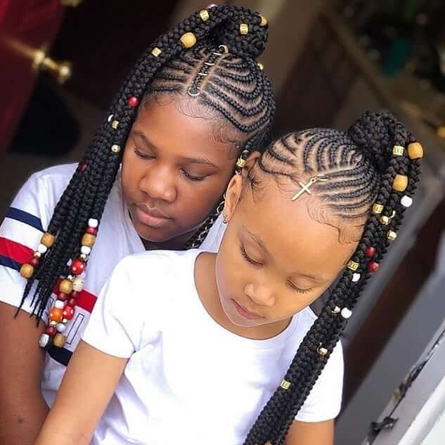 Braided And Beaded Ponytail For Black Kids