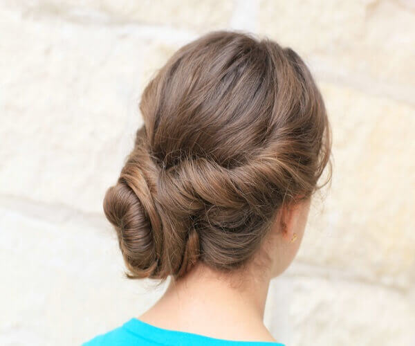 Combed Back Hairstyle With Low Bun