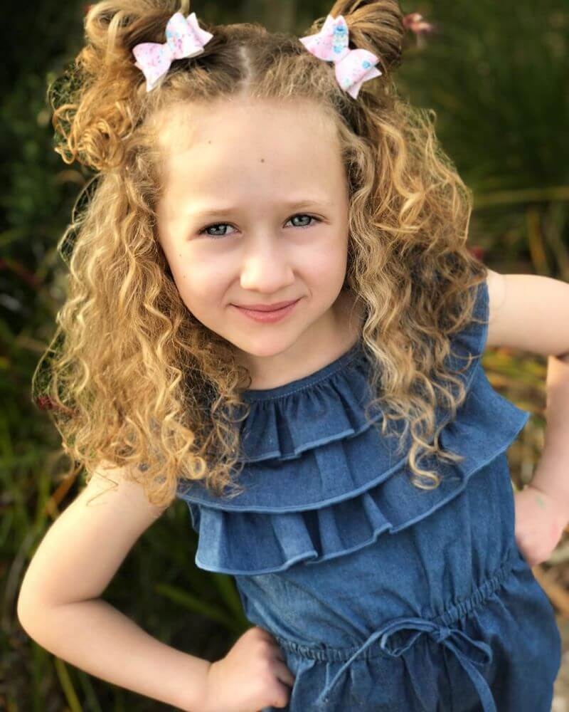 Curly Shoulder Length Hairstyle With Pigtails
