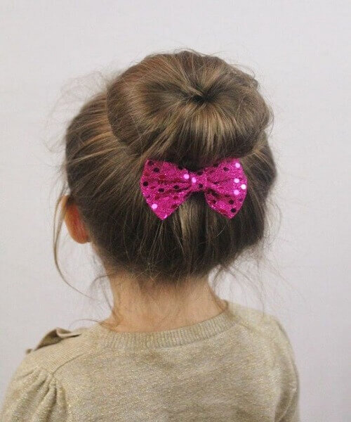 Doughnut Bun With Vibrant Hair Bow