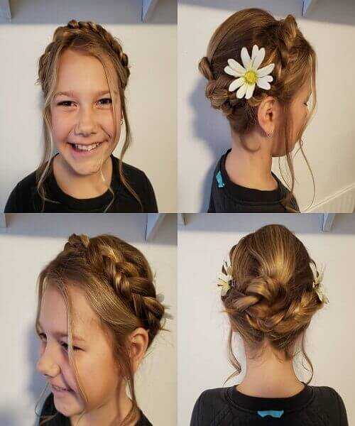 Easy Updo With Crown And Beautiful Wavy Fringes