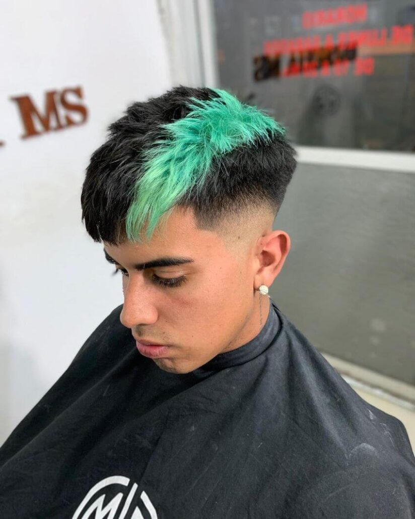 Fade Hairstyle With Colored Stripe