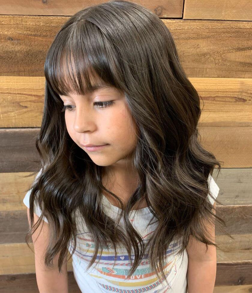 Fine Shoulder Length Hairstyle With Bangs And Wavy Tips