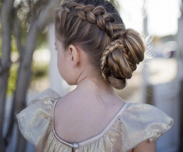 French Braid With Classic Hair Bun