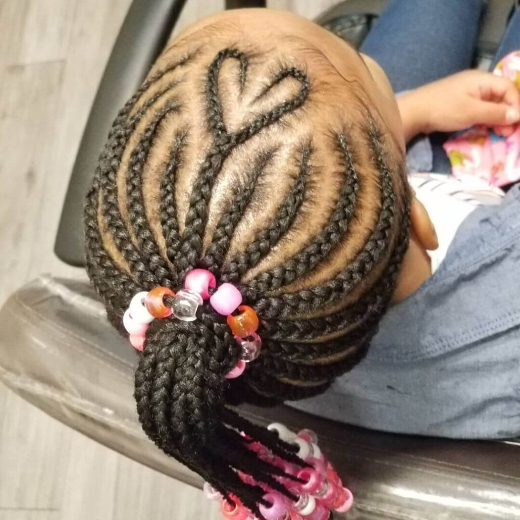 Heart Shaped Braided Hairstyle With Beads
