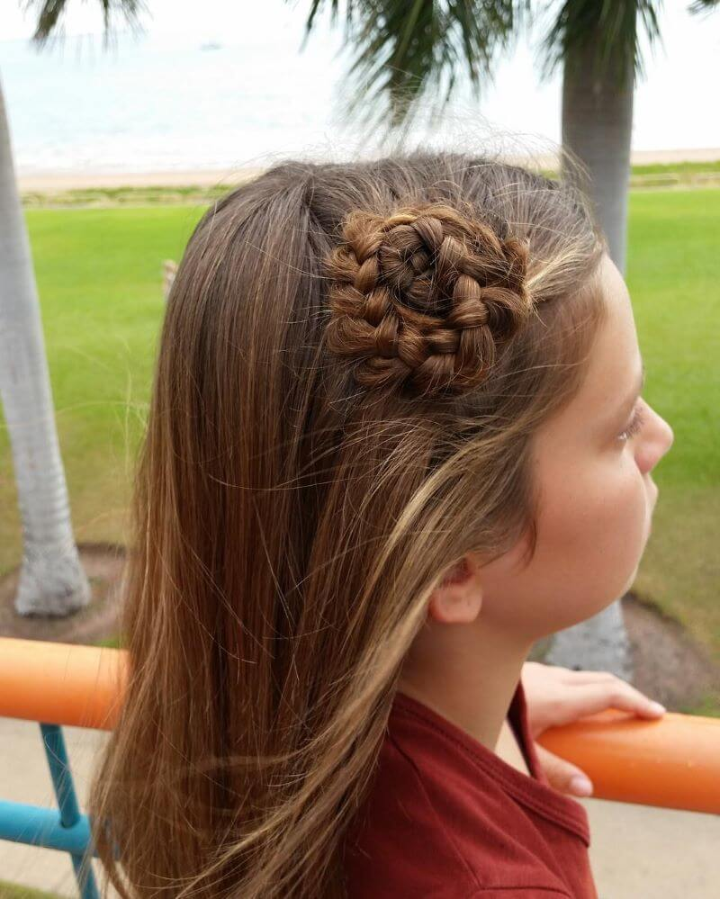 Long Hairstyle With Side Braided Bun