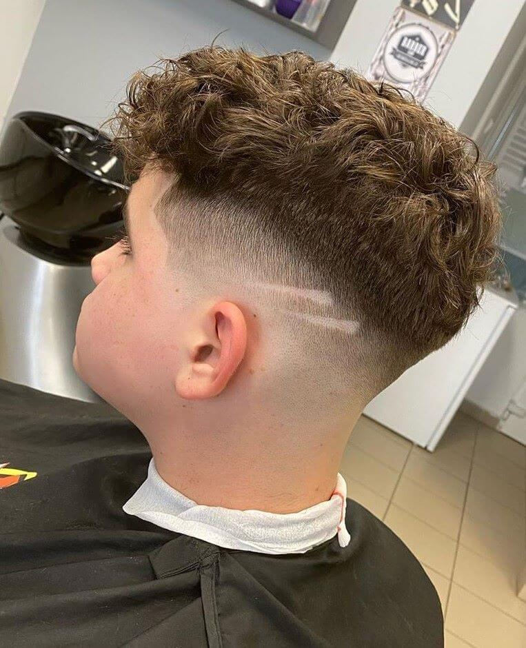 Messy Curls With Fade And Design