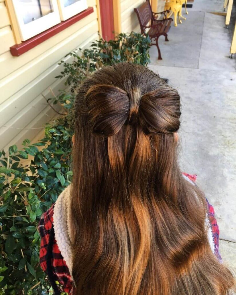 Shoulder Length Hairstyle With Bow Bun