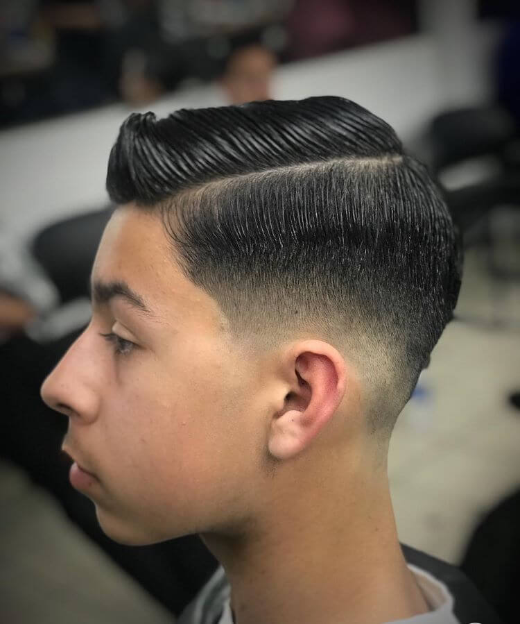 Side Swept Quiff With Fade