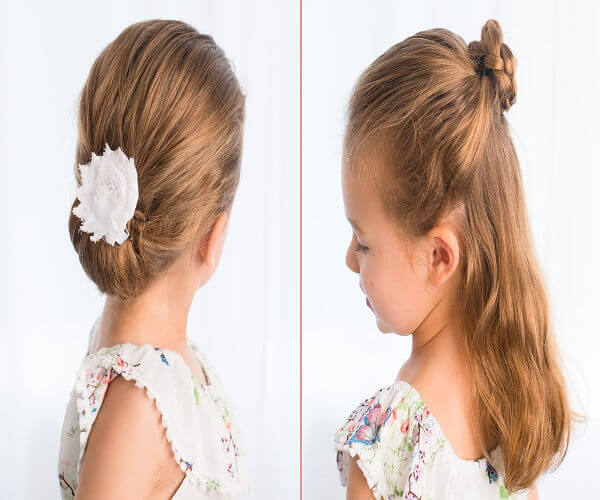 Wavy Combed Back Hairstyle With Bun
