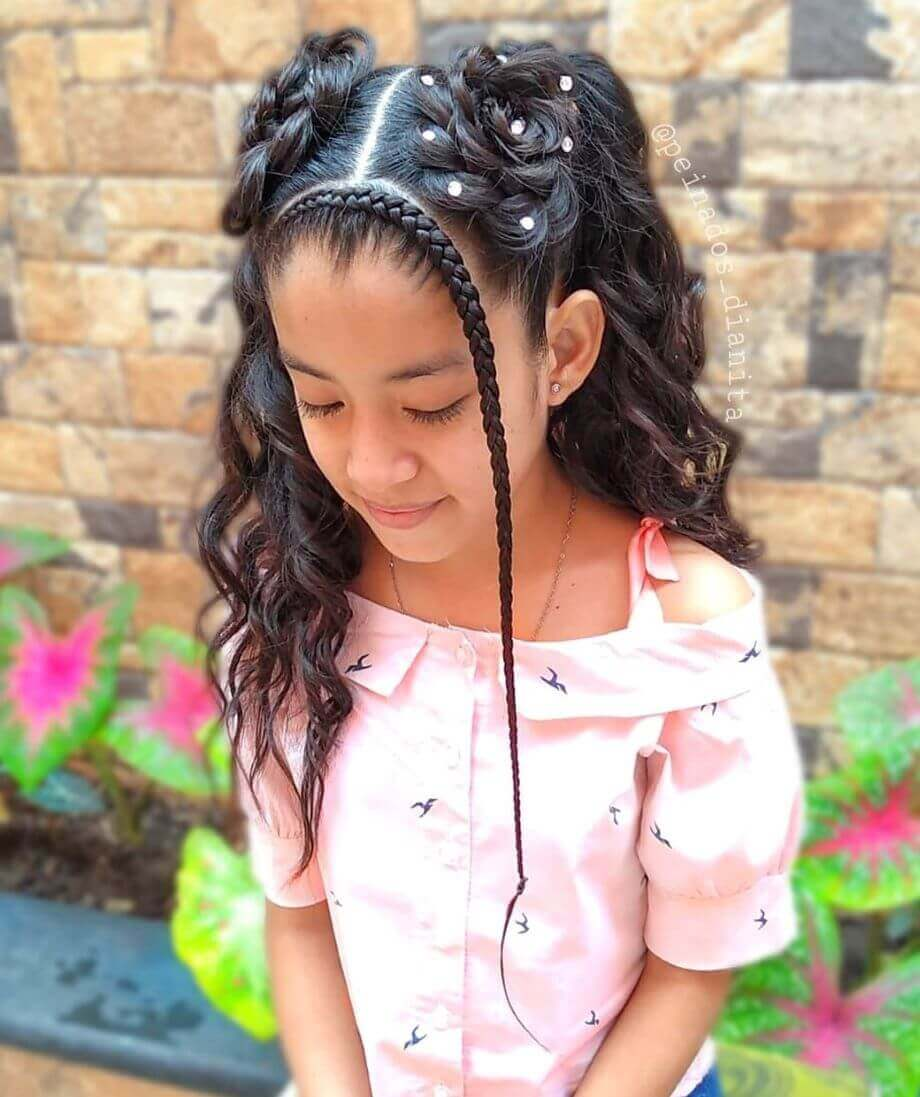 Braided Halo Bang With Flower Pigtails