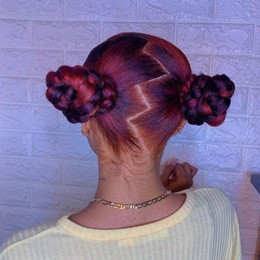 Braided Pigtails With Zigzag part
