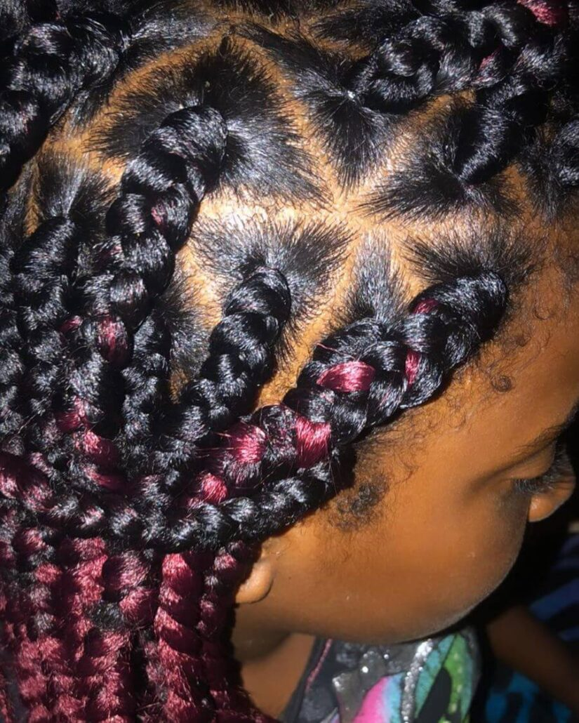 Braids With Burgundy Touch