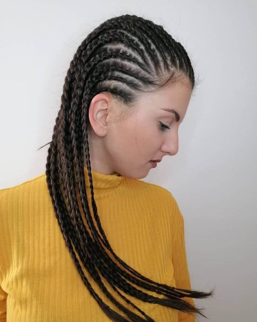 Cornrows With Long Braided Strands