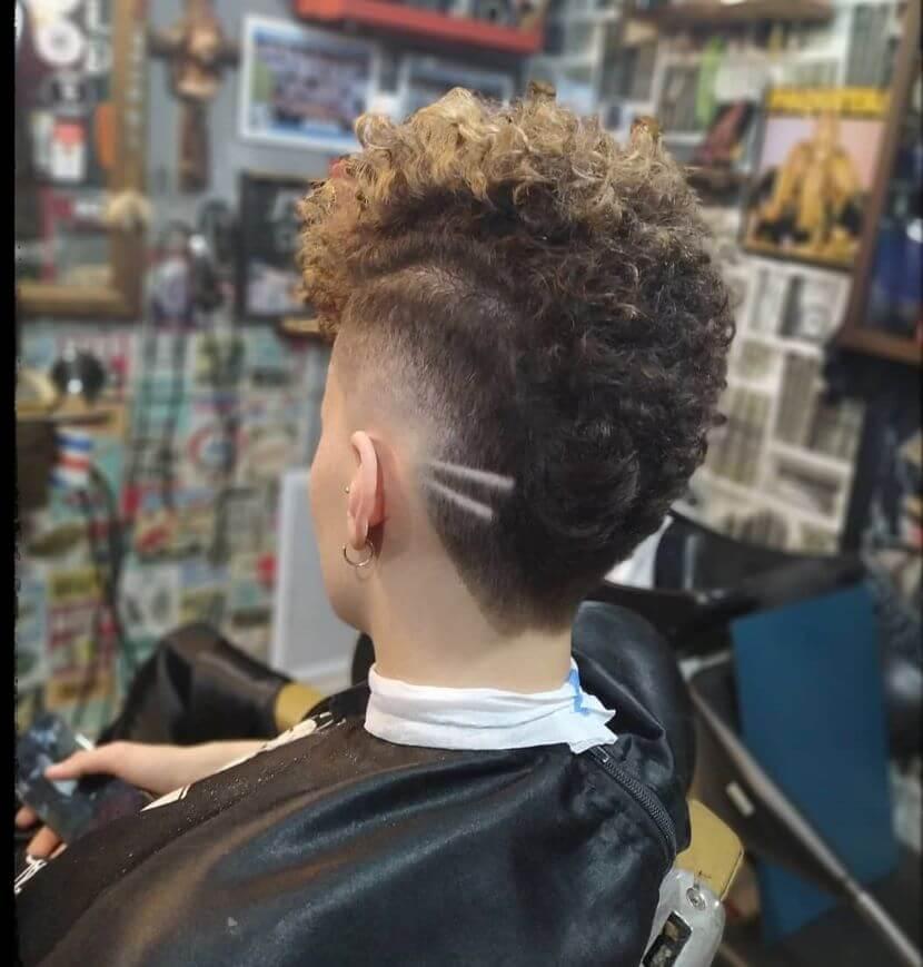 Curly Mohawk With Undercut Design