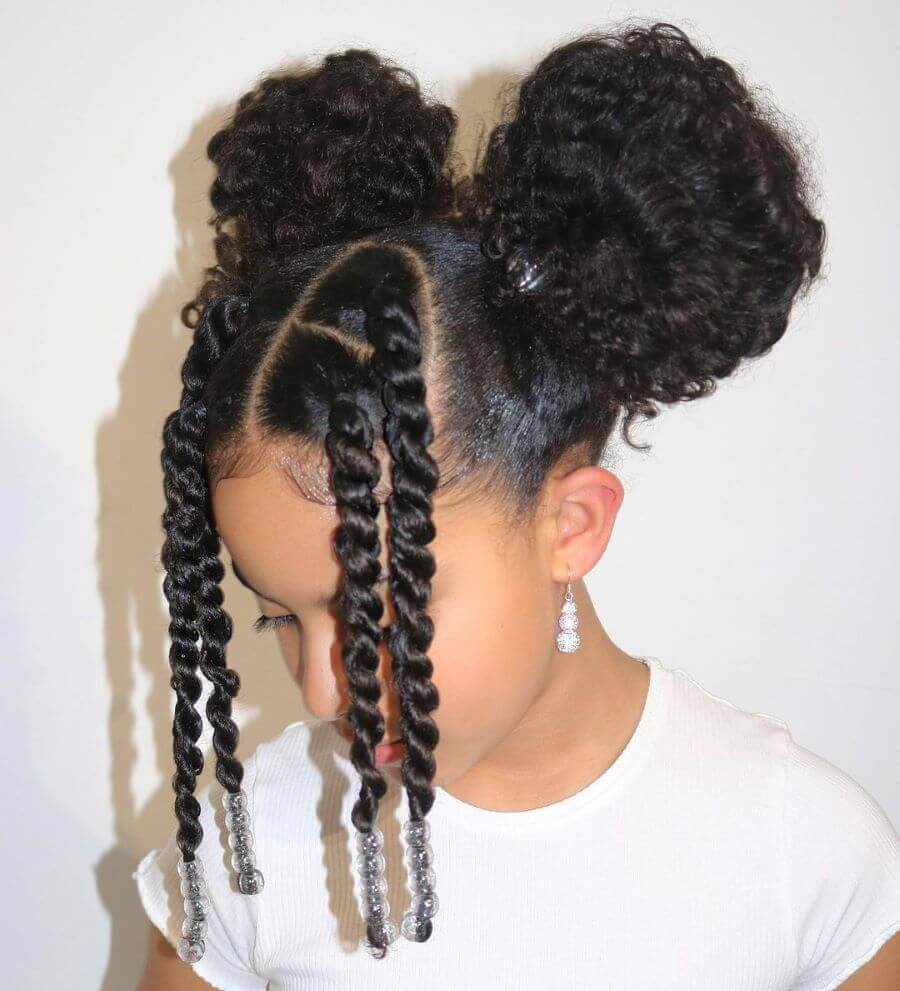 Curly Pigtails With Braided Bangs