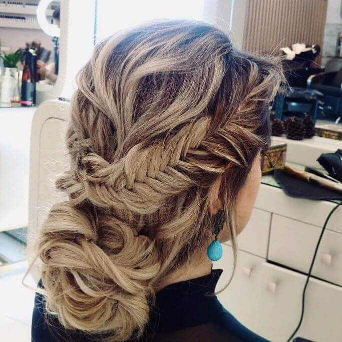 Fishtail Braided Crown With Low Bun