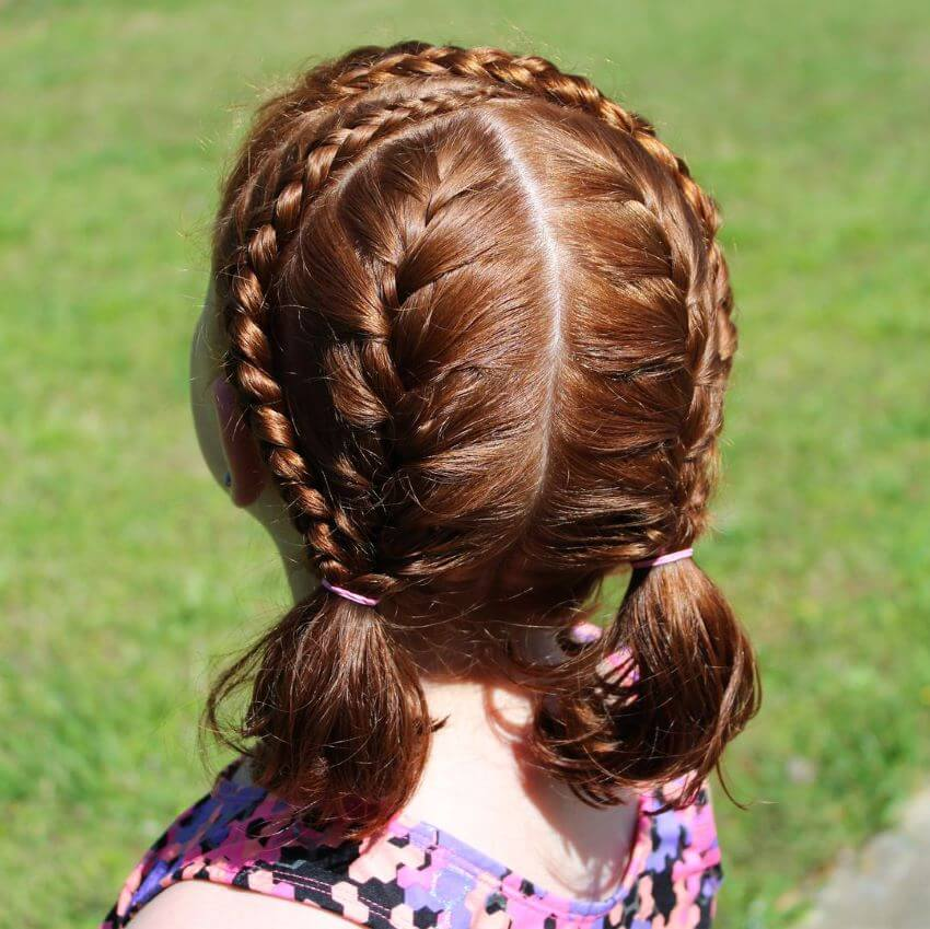 Frontal Braids With Center Parted Hair And Pigtails