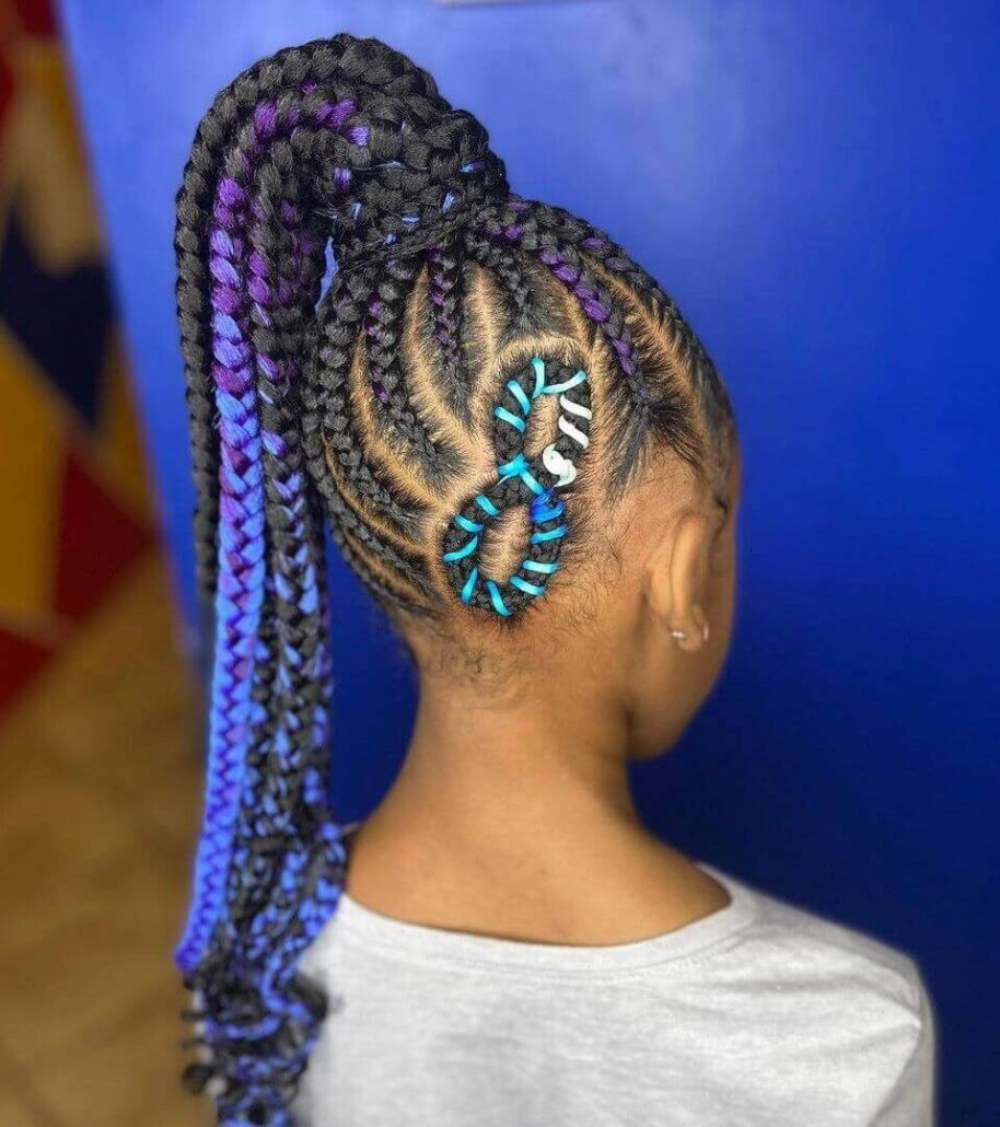 High Braided Ponytail With Color and Pattern