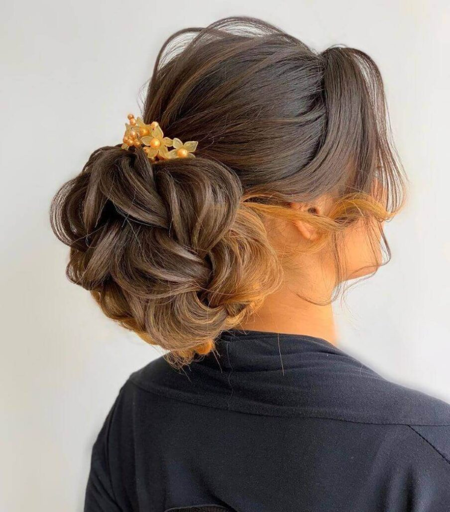 Loose Combed Back Hair With Patterned Bun
