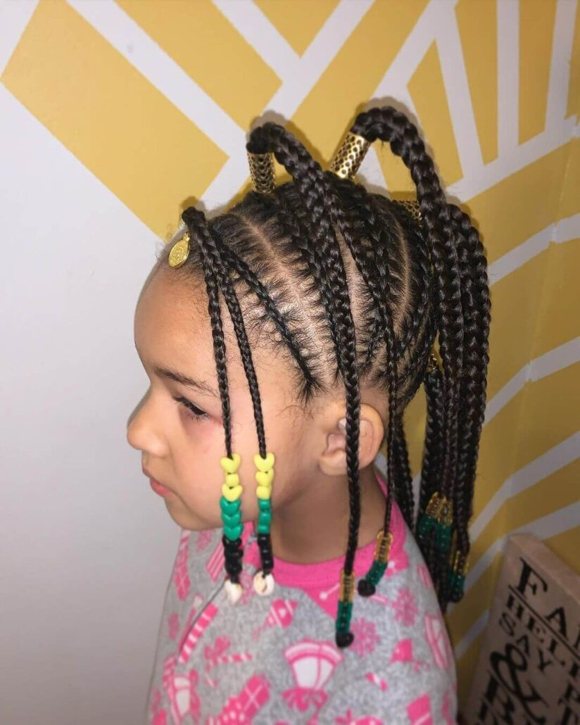 Braided Hairstyle With High Side-Swept Tails