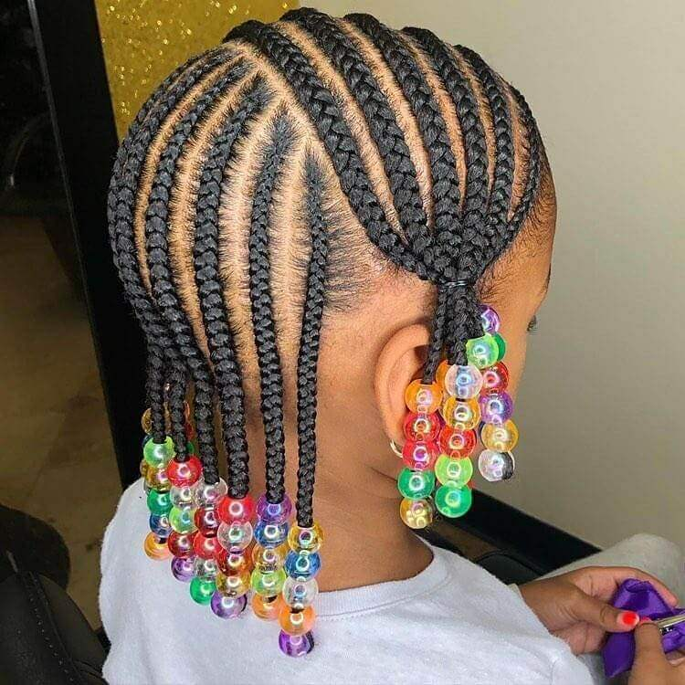 Horizontal Cornrows With Accessories