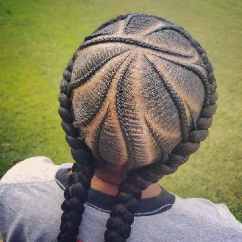 Angular Cornrows With A Thick Braided Halo