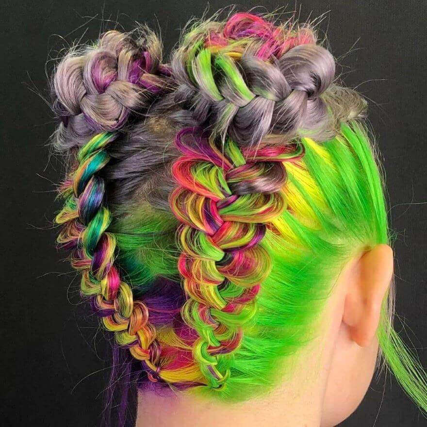 Colorful Reverse Braided Pigtail