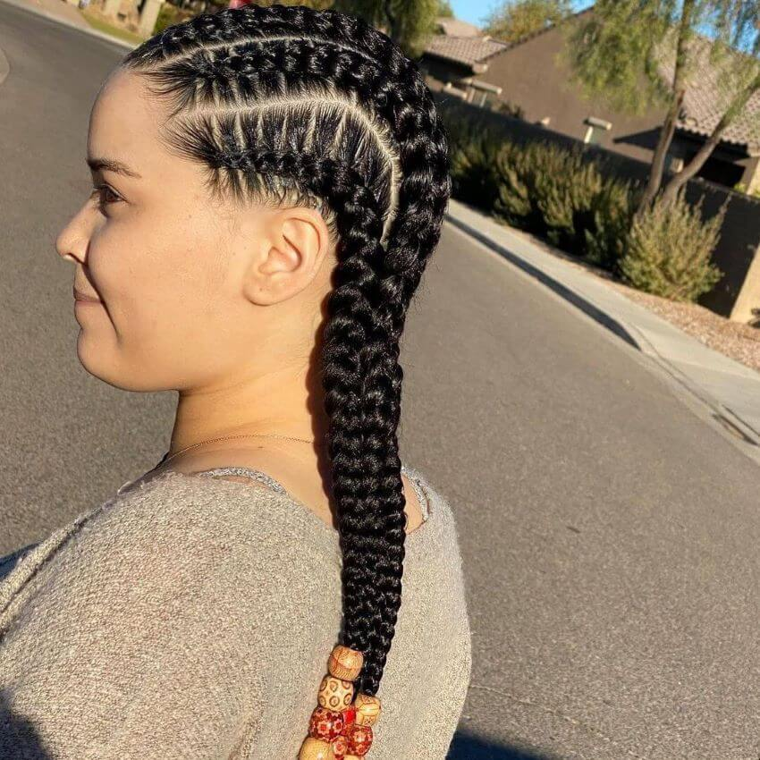Cornrows With Beaded Tips