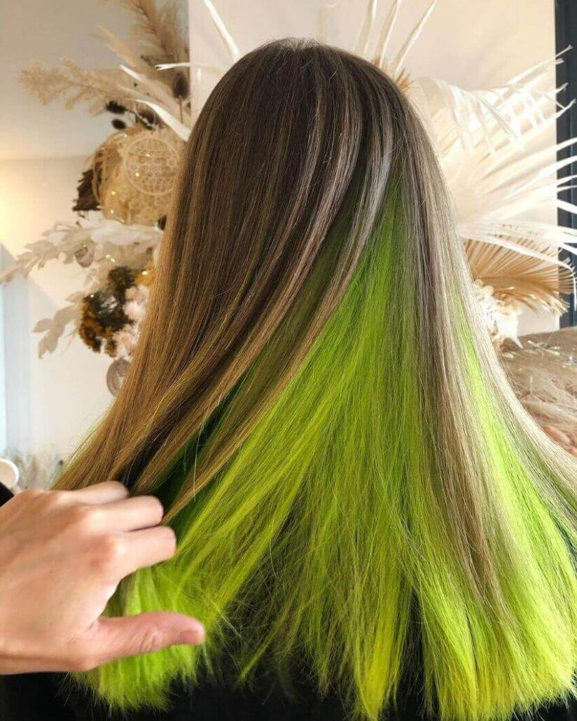 Long Open Hairstyle With Green Tinge