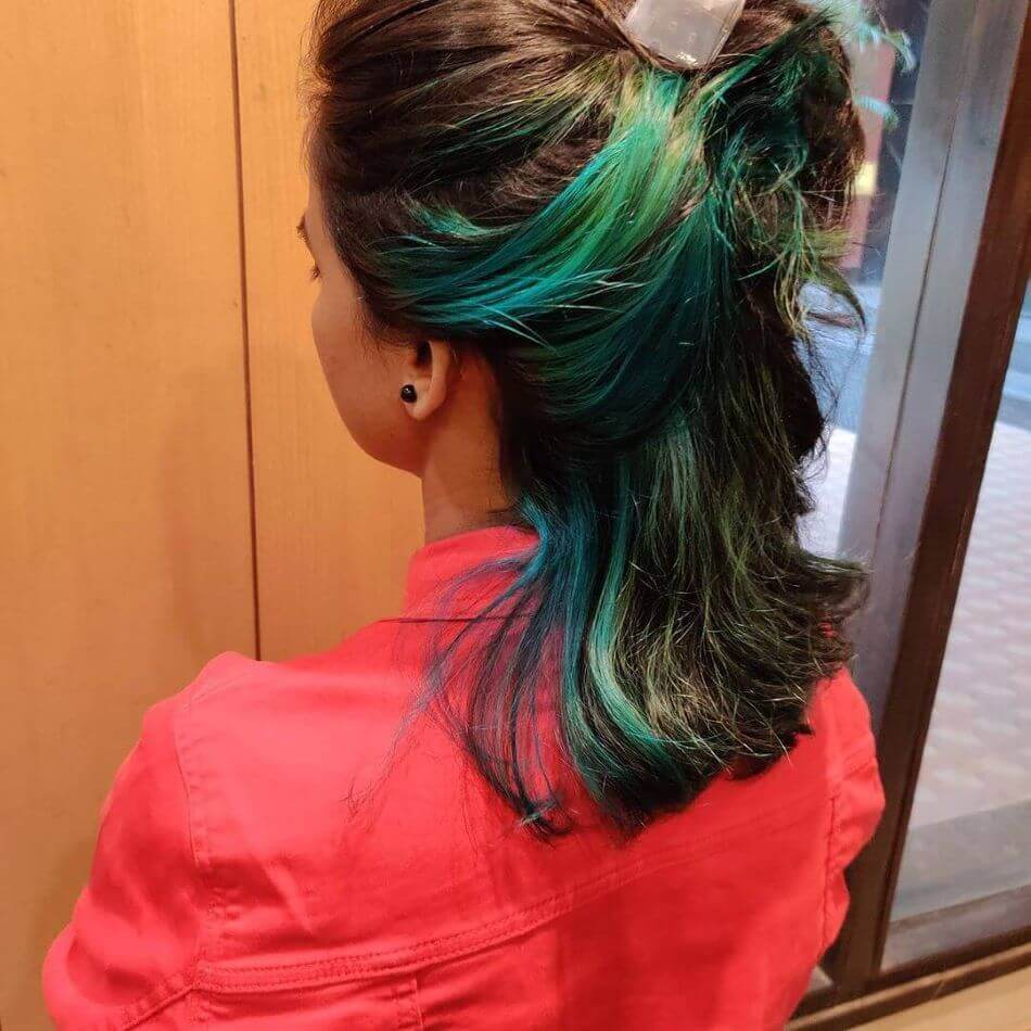Short Combed Back Hair With Green Dye