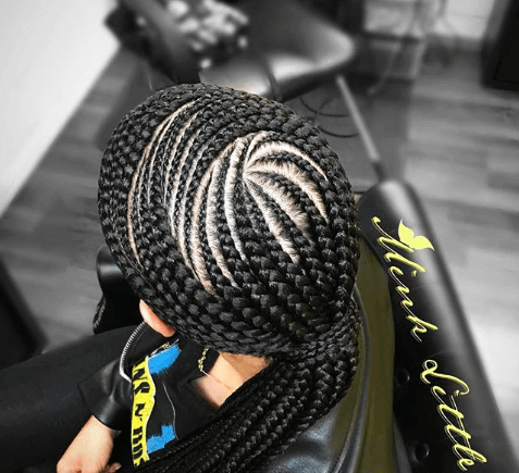 Braided Ponytail With Circular Angles On Top