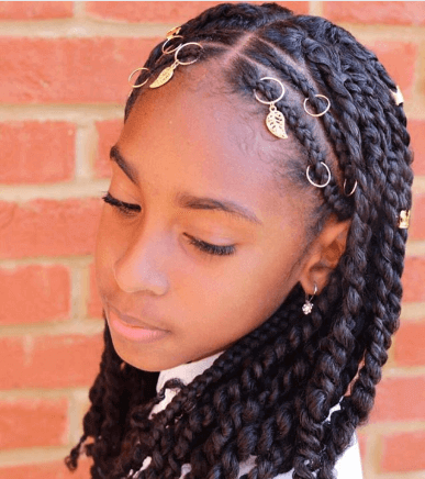 Center Parted Braids With Hair Accessories