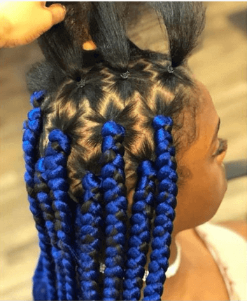 Colored Braids With Nicely Raised Ponytails On Top
