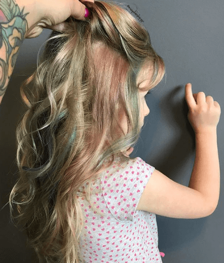Colorful Blonde Hair With Twisted Layers At The Back